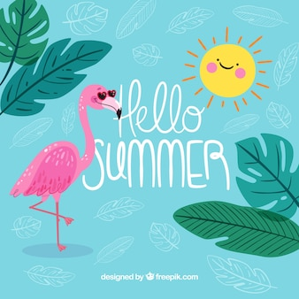 Background of hello summer with funny flamingo