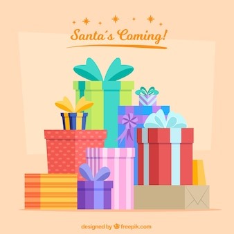 Background of holiday gift boxes in flat design