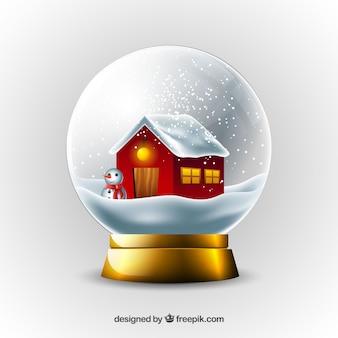 Background of house inside snowglobe