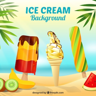 Background of ice cream on the beach
