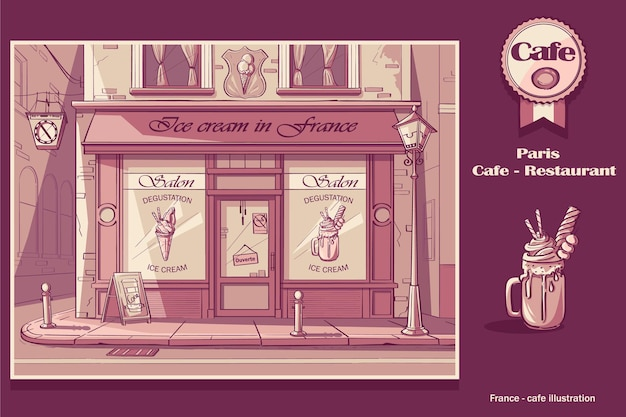 Background ice cream shop. image of frozen yogurt cafe in pink colors.
