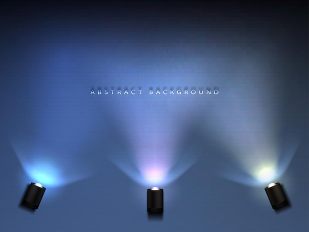 Background illuminated by bright rays of spotlight