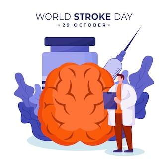 세계 뇌졸중의 날 배경 일러스트 디자인