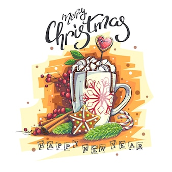 Background illustration happy new year marry christmas. a mug with marshmallows and hot chocolate, rowan, cinnamon, cookies, christmas tree branches.