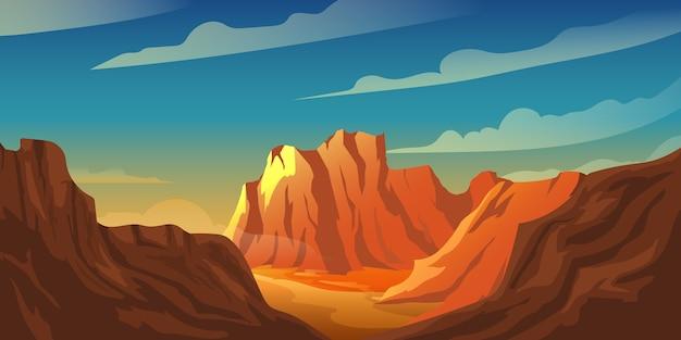 砂漠の夕日の山の崖の背景イラスト