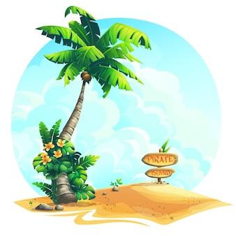 砂の上の木製の看板と背景イラストヤシの木