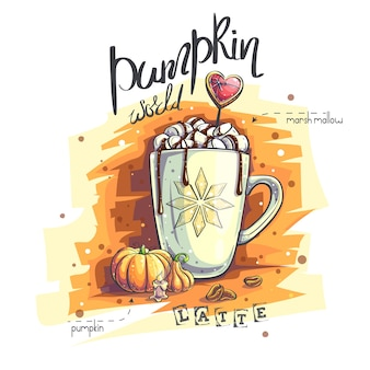 Фоновая иллюстрация тыквенный мир. кружка с зефиром и горячим шоколадом, тыква, огрызок свечи, кофейные зерна.