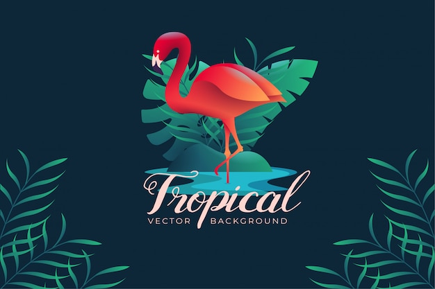 Background illustration with tropical flamingo theme
