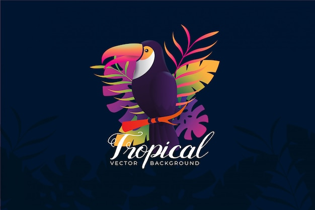 Background illustration with tropical toucan theme