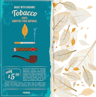 Background illustrations with tobacco leafs, cigarettes and various tools for smokers.