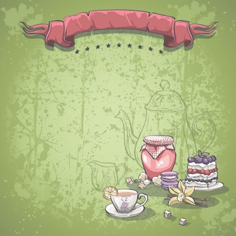 Background image with a cup of tea, jam and blackberry pie