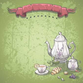 Background image with tea service with tea leaves, croissants and chocolate candy