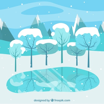 Background in blue tones with a lake and trees