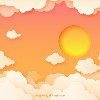 Background in paper style with clouds and sun