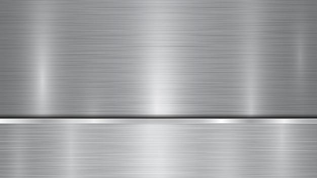 반짝이는 금속 표면과 금속 질감, 눈부심 및 광택이 있는 가장자리가 있는 아래에 있는 하나의 수평 광택 플레이트로 구성된 은색 및 회색 배경