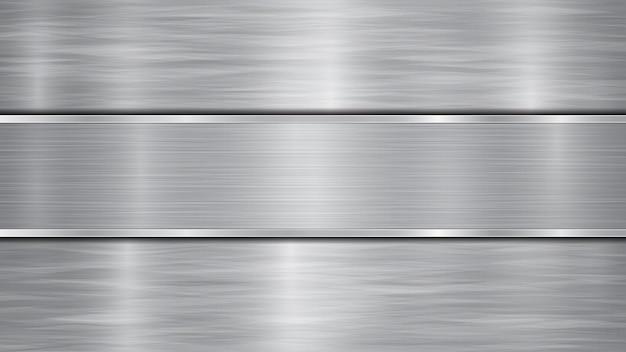 반짝이는 금속 표면과 중앙에 위치한 하나의 수평 광택 플레이트로 구성된 은색 및 회색 색상의 배경, 금속 질감, 눈부심 및 광택 가장자리