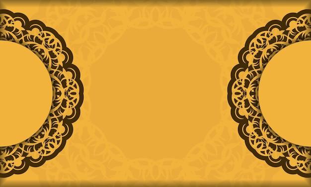 Фон желтого цвета с абстрактным коричневым рисунком для дизайна под логотипом или текстом