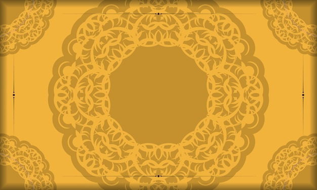 Фон желтого цвета с коричневым орнаментом мандалы для дизайна под логотипом или текстом
