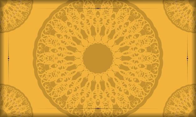 Фон желтого цвета с абстрактным коричневым узором и пространством для текста