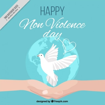 Background international non violence day with a dove