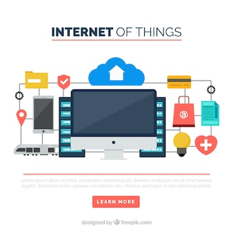 Background of internet things in flat design