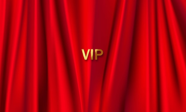The background is a red theater curtain vip. illustration in vector format.