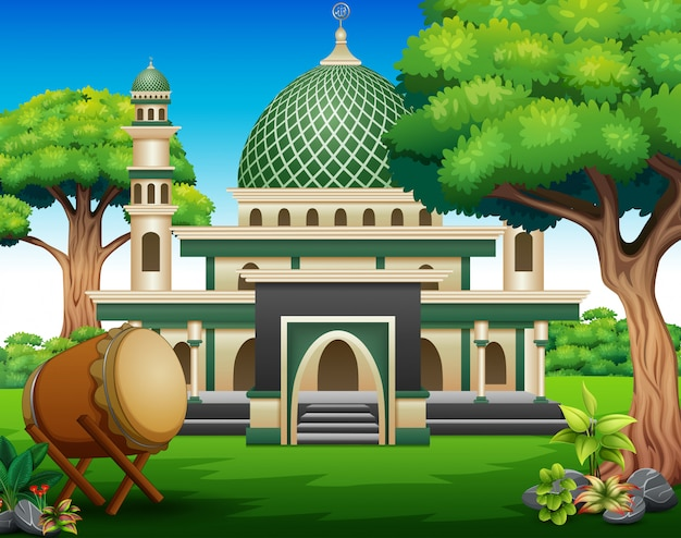 Background of islamic mosque building with green plants