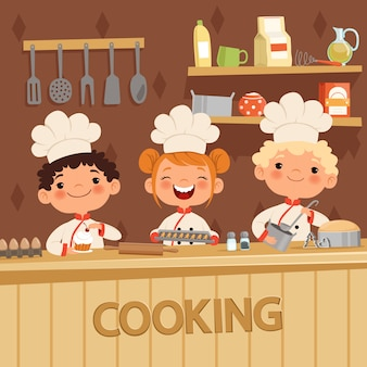 Background of kids preparing food on the kitchen