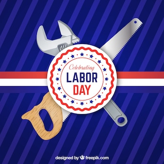 Background of labor day logo with tools