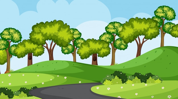 Background  of landscape with park with road
