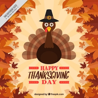 Background of leaves with nice thanksgiving turkey