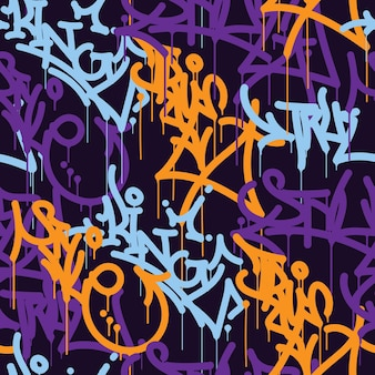 Background letters colored lettering tags graffiti street art vector illustration seamless patern