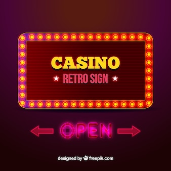 Background of ligh sign casino background in retro style