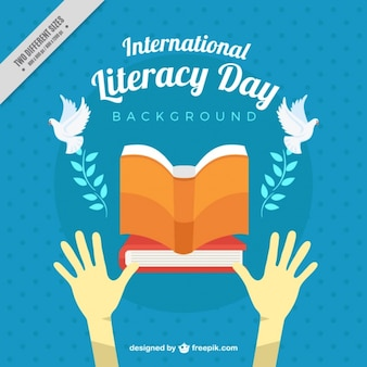 Background of literacy day with doves