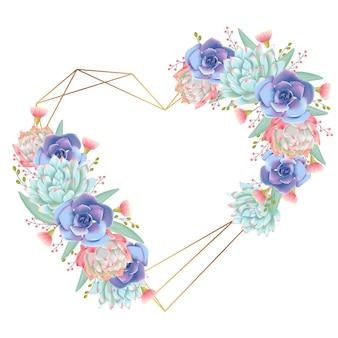 Background love wreath succulents vector