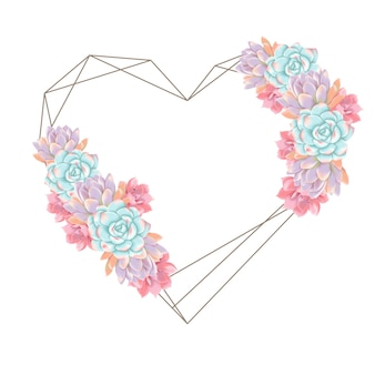 Background love wreath succulents