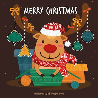 Background of lovely reindeer with gifts