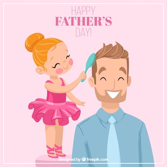 Background of lovely scene of girl combing her father