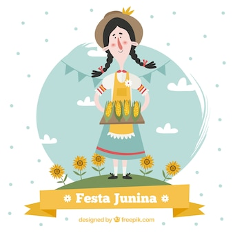 Background of lovely traditional festa junina character