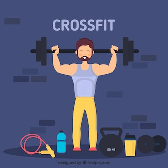 Background of man lifting weights in flat design