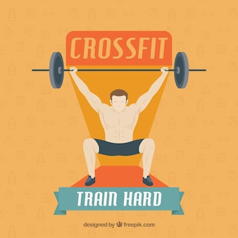 Background of man lifting weights with text