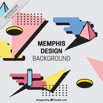 Background in memphis style with shapes