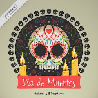 Background of mexican skull with candles