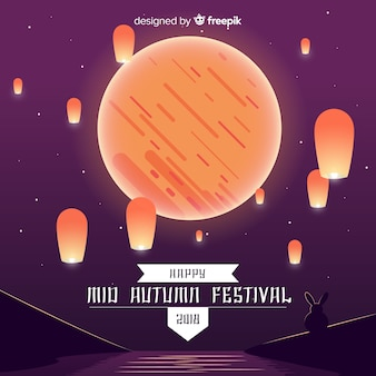 Background for mid autumn festival in flat style