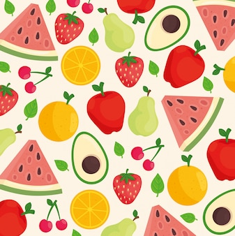 Background of mixed fruits and avocado