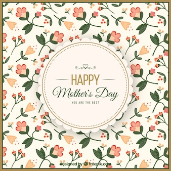 Background of mother's day with delicate flowers in vintage style
