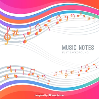 Background of musical notes with waves
