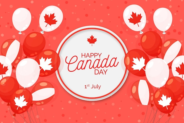 Background of national canada day and balloons
