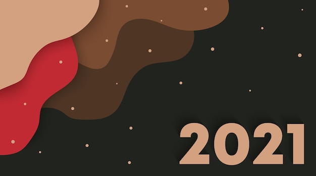 Background of new year 2021 with fluid shapes, paper cut style.