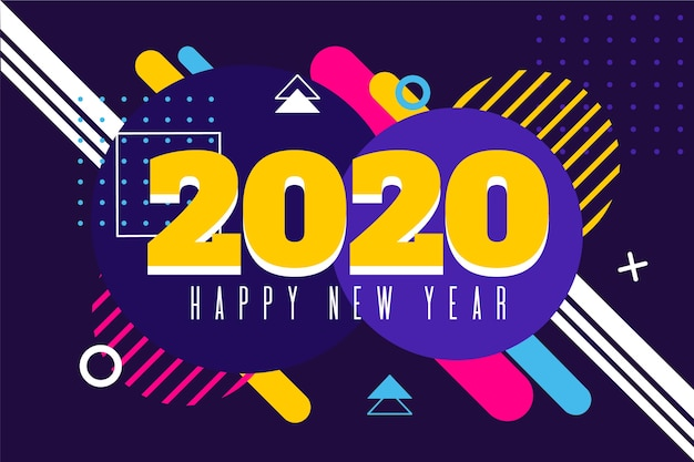 Background new year in flat design